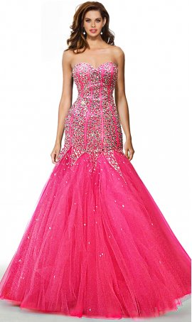 dazzling jewel beaded bodice strapless sweetheart tulle mermaid prom formal pageant gown dress