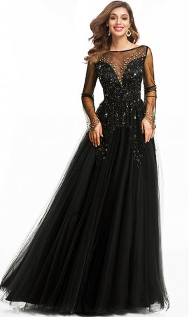 brilliant long sleeved beaded a line tulle evening dress