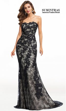 stunning strapless sweetheart floral lace evening dress