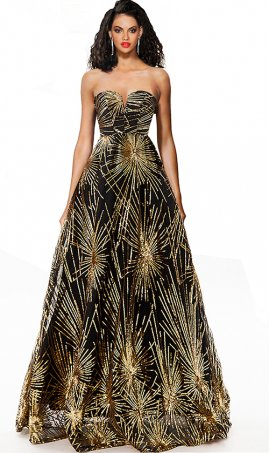 dazzling strapless sweetheart sequin pattern a line evening dress