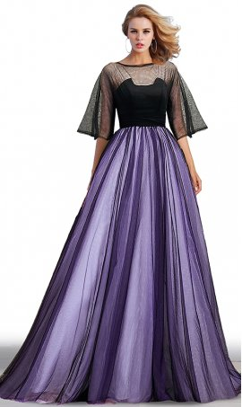 romantic two tone color block a line tulle flutter sleeves prom formal evening gown dress