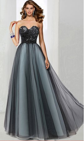 Gracefull beaded lace applique two tone color block a line tulle ball prom formal evening pageant dress