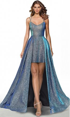iridescent glitter hi lo spaghetti straps lace up open back glitter satin high low prom formal evening pageant gown dress