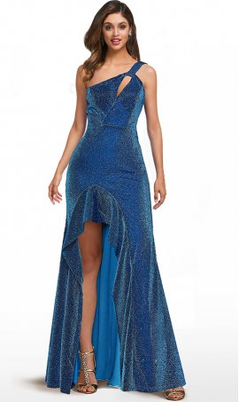 iridescent metalic single one shoulder ruffled high slit glitter prom formal dress