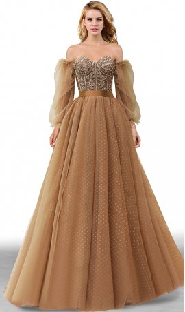 gorgeous beaded lace applique sweetheart detachable sleeves polka-dot a line tulle ball prom formal evening dress