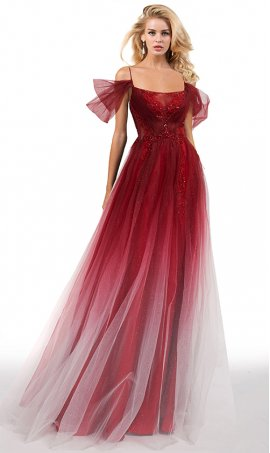 charming cold shoulder jewelled bodice a line ombre tulle prom formal dress