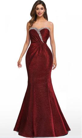 shimmering beaded strapless sweetheart floor length iridescent glitter mermaid dress