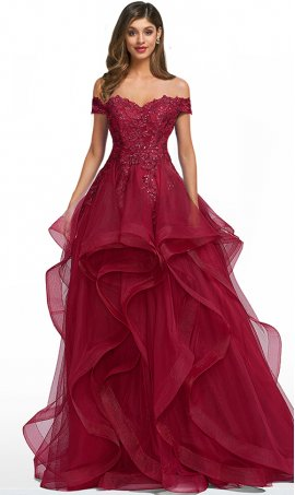 dazzling beaded lace applique off the shoulder tiers ruffles tulle ball gown quinceanera dress