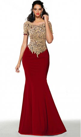 elegant short sleeves beaded lace applique floor length jersey mermaid prom formal evening dress