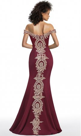 glamorous beaded lace applique off the shoulder floor length jersey mermaid evening formal prom dress
