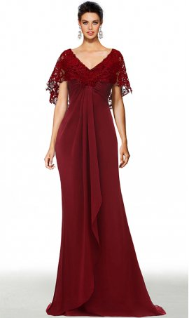 graceful lace-cape v neck floor length chiffon formal evening dress