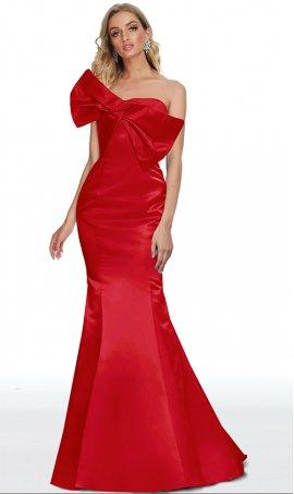 pronounced ornate bow accented sweetheart satin mermaid prom formal evening dress
