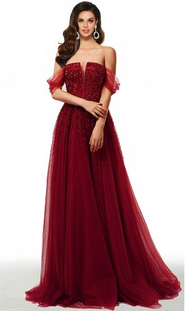 beaded off the shoulder sharp v neck a line tulle ball prom formal evening pageant gown dress