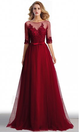 gorgeous lace applique three quarter length sleeves a line tulle prom formal evening dress