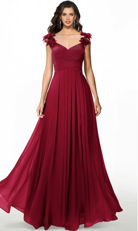 romantic ruffled straps ruched bodice a line chiffon prom formal evening bridesmaid dress
