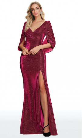 stylish iridescent cape bella sleeves high thigh slit glitter knit prom formal evening pageant gown dress