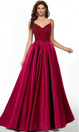 trendy lace bodice Spaghetti Straps a line satin prom formal evening pageant gown dress