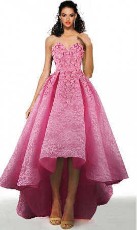 glamorous 3-d floral appliques strapless sweetheart a line high low lace prom formal evening pageant gown dress