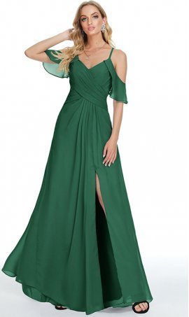 gorgeous flounced off-the-shoulder sleeves high slit chiffon prom formal evening bridesmaid dress