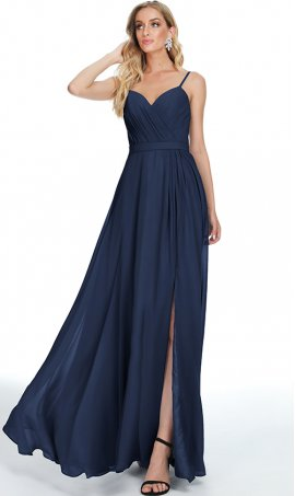classic sweetheart spaghetti straps high thigh slit chiffon prom formal evening bridesmaid dress