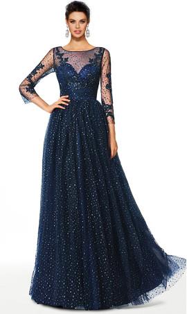 elegant long sleeve round neckline a line glitter tulle ball prom dress