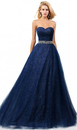 glittering sequin underlay beaded strapless a line tulle prom dress