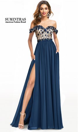 magnificent beaded off the shoulder two tone color block high thigh slit chiffon dress