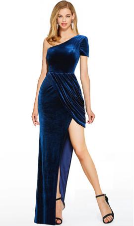 flawless asymmetrical one shoulder short sleeve high thigh slit velvet dress