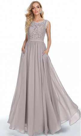 elegant illusion lace scoop neckline side slit chiffon prom formal evening bridesmaid dress