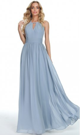 impressive a line peek-a-boo keyhole halter chiffon prom formal evening bridesmaid dress