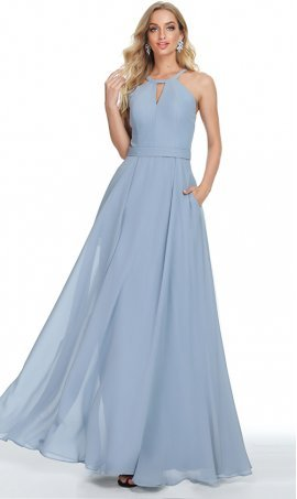 romantic peek-a-boo keyhole halter neckline a line chiffon prom formal evening bridesmaid dress
