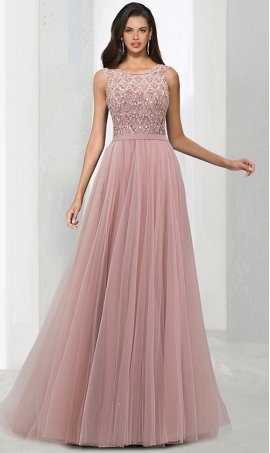 fabulous bateau neckline beaded a line tulle prom evening formal ball gown dress