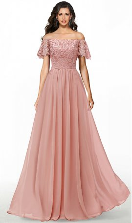 romantic lace off the shoulder short sleeves a line chiffon bridesmaid formal evening dress