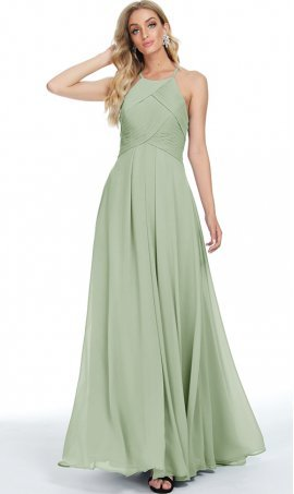sophisticated pleated bodice halter high neckline a line chiffon prom formal evening bridesmaid dress
