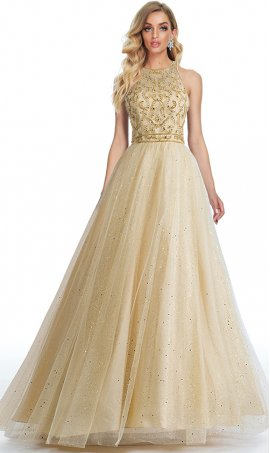 show-stopping beaded halter high neck keyhole back glitter tulle a line ball gown prom formal evening pageant dress