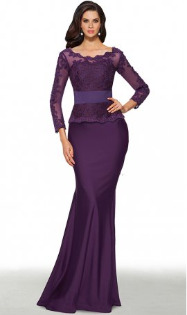 elegant lace applique long seeve bateau neckline peplum skirt jersey dress