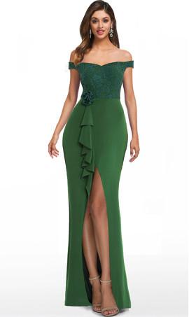 fabulous off the shoulder lace boidce high front slit jersey evening dress