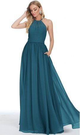 lovely halter neckline a line chiffon bridesmaid prom formal evening dress