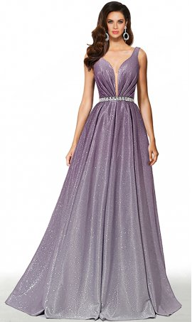 iridescent beaded plunging v neck purple silver ombre glitter satin prom formal evening pageant gown dress