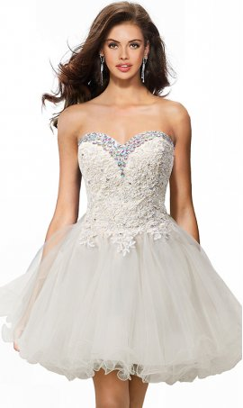 gorgeous beaded lace applique strapless sweetheart short prom dress