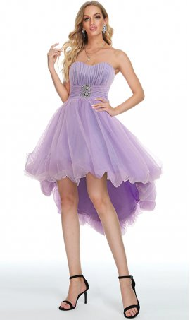 flirty hi lo strapless sweetheart beaded high low tulle prom party dress