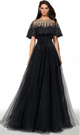 dramatic detachable embroidered-cape lace applique a line tulle ball prom formal evening pageant gown dress