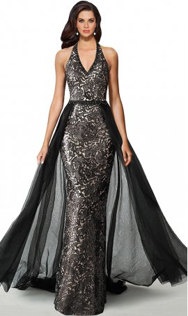 fabulous deep v halter neckline open back overskirt beaded lace formal evening dress
