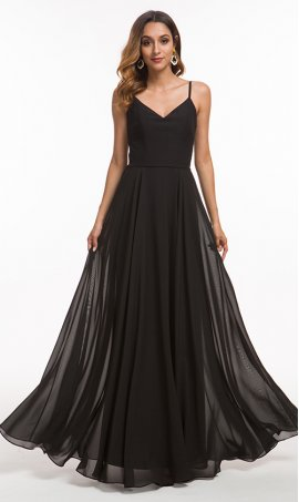 flowing spaghetti straps v neck a line chiffon prom formal evening bridesmaid pageant gown dress