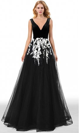 gorgeous deep v neck velvet top constrast white lace applique a line tulle skirt prom formal evening pageant gown dress