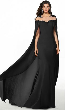 romantic sheer illusion lace applique high neck cape chiffon prom formal evening pageant gown dress