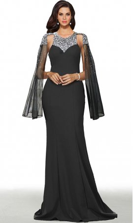 stunning beaded high neck long cape sleeves floor length jersey mermaid prom formal evening pageant gown dress