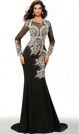stunning illusion long sleeves beaded lace applique floor length jersey mermaid dress