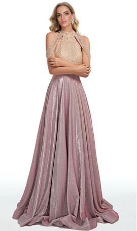 iridescent beaded halter high neck open back a line glitter ball prom formal gown