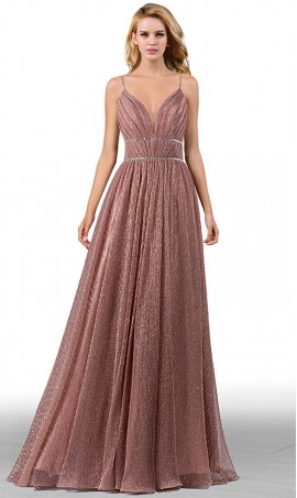 goddess plunging v neck spaghetti straps open back metallic crepe prom formal evening dress